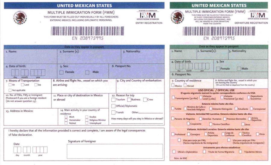 Иммиграционная карта для Мексики